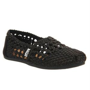 Toms Womens Black Woven Satin Casual Slip On Flats